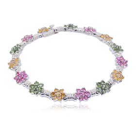 Sterling Silver Pink, Yellow, and Green Colored Cubic Zirconia Bracelet