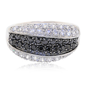 Silver Black And White Cubic Zirconia Ring