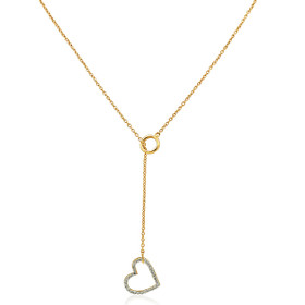 "10K Yellow Gold 18"" Diamond Heart Lariat Necklace"