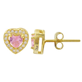 Gold Plated Sterling Silver CZ Heart Post Stud Earrings