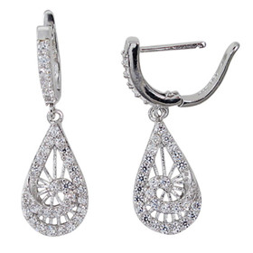 Rhodium Plated Sterling Silver CZ Drop Lever Back Earrings