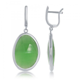 Rhodium Plated Sterling Silver Grass Green Cat Eye Earrings