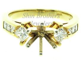 14K Yellow Gold 0.50 ct Diamond Engagement Ring Setting