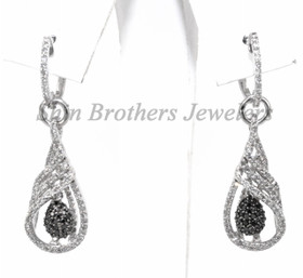 410-01140 14K White Gold Black Diamond Earrings