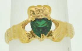 12001720 14K Yellow Gold Claddagh Gem Stone Ring
