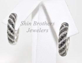 14K White Gold White And Color Enhanced Black Diamond Earrings 41001286