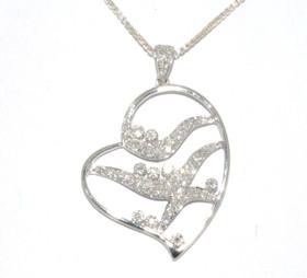 14K White Gold Diamond Heart Charm 51001126
