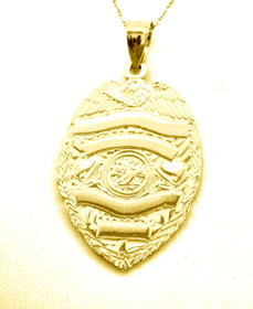 14K Yellow Gold Police Badge Charm (Customizable)  50001705