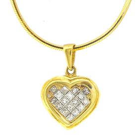 14K Yellow Gold Princess Cut Diamond Heart Charm 51000946