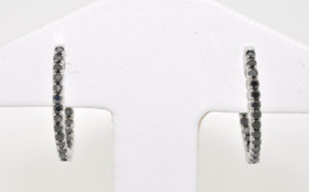 41001319 14K White Gold Black Diamond Hoop Earrings