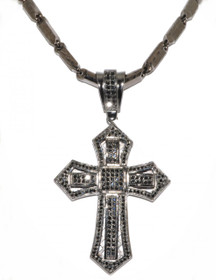 85010044 Black Silver CZ Pave Cross