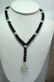 35010010 Black & White Cross Shamballa Necklace