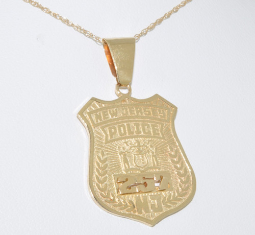 medal of necklace officers shield chain patron on silver engraved michael police yhst st sterling