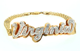 23300015 14K 2 Tone Gold Name Bracelet