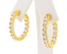 80000481 Silver Fancy Gold Plated Hoop Earrings