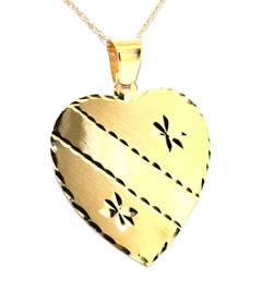 14K Yellow Gold Fancy Diamond Cut Heart Engravable Pendant 50001932
