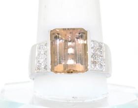 14K White Gold Yellow Quartz/Diamond Ring 12001131