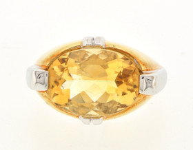12000197 14K Two-Tone Gold Citrine Ring