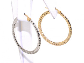14K Yellow/White Gold 30mm Hoop Earrings 40001579-E