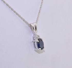 14k White Gold Blue Saphire Diamond  Pendant