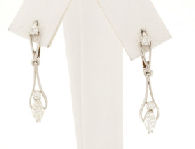 14K White Gold Marquise Diamond Lever Back Dangle Earrings 41060287