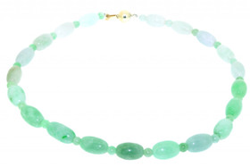 14K Yellow Gold Authentic Jade necklace with Fancy Snap Lock