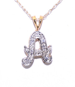 51001264 14K Two-Tone Gold Diamond Initial 'A' Pendant
