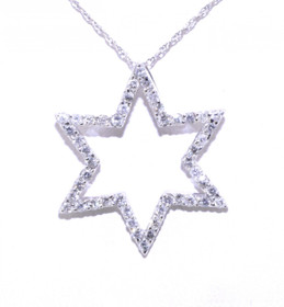 51001261 White Gold Diamond Star of David Pendant