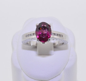 12000046 14K White Gold Garnet/Diamond Ring