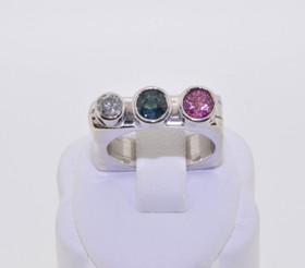 12001088 14K Two Tone Gold Gemstone/Pink Sapphire/Diamond Ring