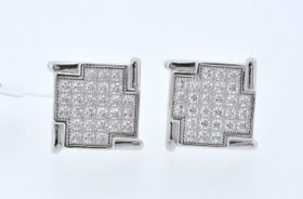 89810008 Sterling Silver Square CZ Cufflinks