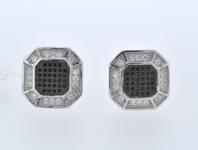89810003 Sterling Silver Square CZ Cufflinks