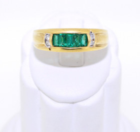 12001783 14K Yellow Gold Emerald/Diamond Ring