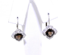 42001612 14K White Gold Diamond/Smokey Topaz Earrings