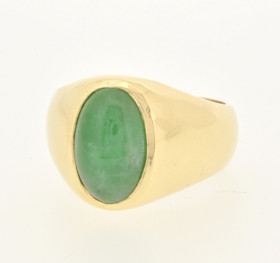 12001237 14K Yellow Gold Jade Men's Ring
