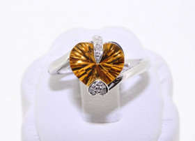12000244 14K White Gold Citrine/Diamond Ring