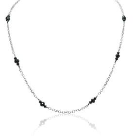 "14K White Gold Black Diamond Pendant With 17"" Link Chain"