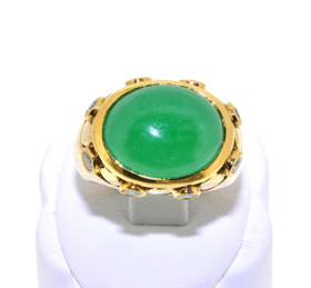 12000680 18K Yellow Gold Diamond/Jade Men's Ring