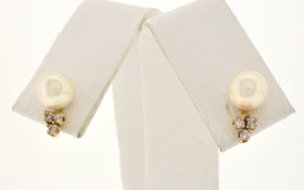 14K Yellow Gold 6mm Pearl/CZ Stud Earrings 42001551