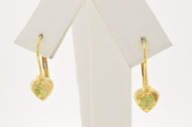 14K Yellow Gold Peridot Lever Back Earrings