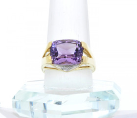 12001851 14K Yellow Gold Amethyst / Diamond Ring