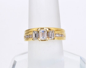 14K Yellow Gold Diamond Engagement Ring with Custom Wedding Band