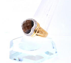 12001830 14K Yellow Gold Diamond Smokey Topaz Ring