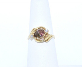 12001197 14K Yellow Gold Tourmaline Diamond Ring