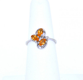 12001862 14K White Gold 0.75ct Citrine 0.02ct Diamond Ring