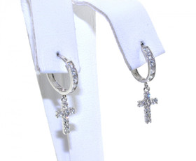 49210005 10K White Gold CZ Cross Charm Huggies