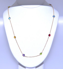14K Yellow Gold Multicolored Stone Necklace 32000308