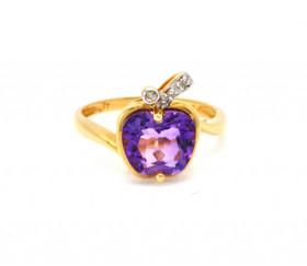 12001931 14K Yellow Gold 2.19ct Amethyst 0.02ct Diamond Apple Ring