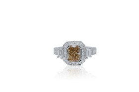 18K White Gold 1.40 ct. Natural Yellow Diamond Engagement Ring