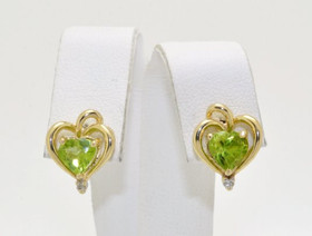 14K Yellow Gold Peridot/Diamond Heart Stud Earrings 42001770